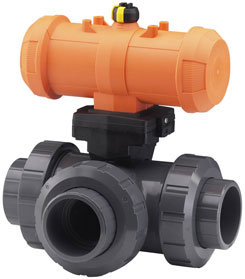 3-Way-Ball Valve with pneumatic actuator Type 285-288